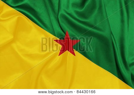 French Guiana- Waving national flag on silk texture