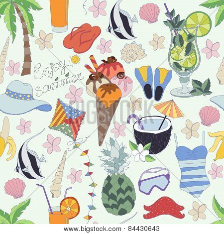 Vector seamless pattern. Pattern ,set of different summer things.