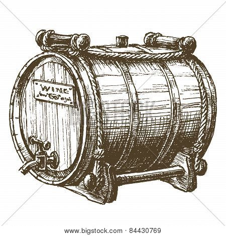 barrel of wine vector logo design template. beer or alcohol drink icon.