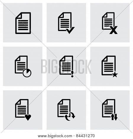 Vector black document icon set