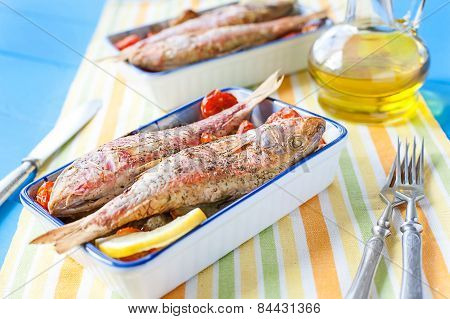 cooked red mullet with vegetables