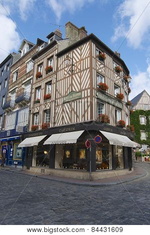 Exterior of the historical buildings in Honfleur, France.