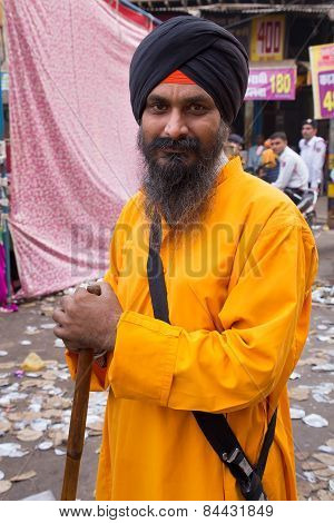 Delhi, India - November 5: Unidentified Man Takes Part In Guru Nanak Gurpurab Celebration On Novembe