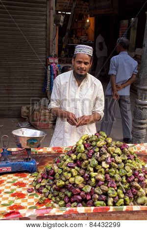 Delhi, India - November 5: Unidentified Man Sells Fruits From A Stall On November 5, 2014 In Delhi,