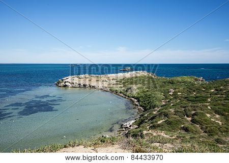 A scenic view of Penguin Island peninsula in Rockingham