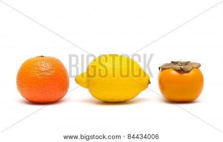 Lemon, Persimmon And Tangerine Isolated On White Background