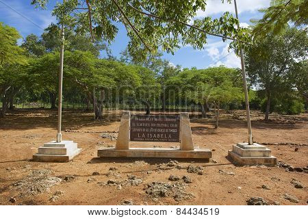 Memorial plaque at the ruins of La Isabella settlement in Puerto Plata, Dominic