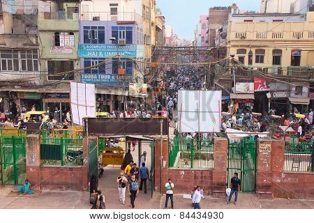 Delhi, India - November 5: View Of  Chawri Bazar From Jama Masjid In The Evening On November 5, 2014