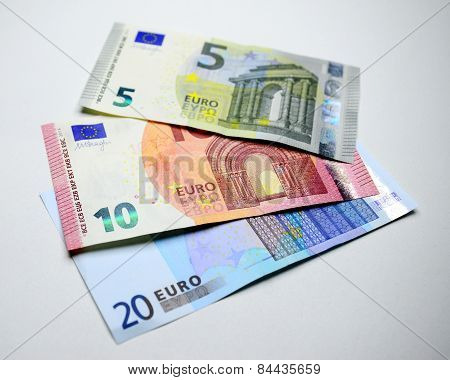 Close Up Of Euros Money Banknotes