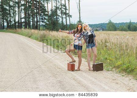 Students Wearing Sunglasses Hitchhiking