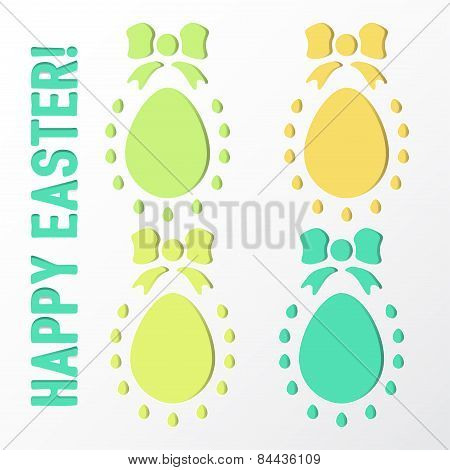 Set Easter Egg With Bow Vector