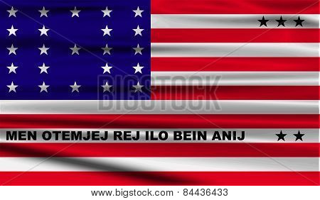 Flag Of Bikini Atoll With Old Texture. Vector