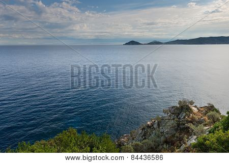 view over coast and ocean of elba in italy