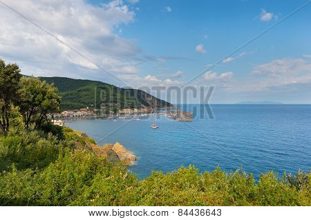 bay of the green island elba in italy with blue sky