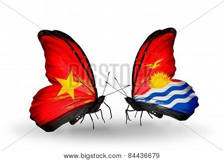 Two Butterflies With Flags On Wings As Symbol Of Relations Vietnam And Kiribati