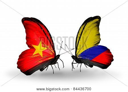 Two Butterflies With Flags On Wings As Symbol Of Relations Vietnam And Columbia