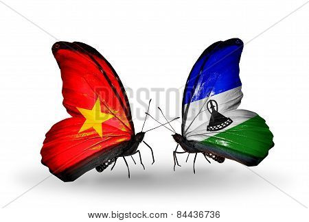 Two Butterflies With Flags On Wings As Symbol Of Relations Vietnam And Lesotho