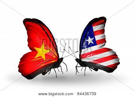 Two Butterflies With Flags On Wings As Symbol Of Relations Vietnam And Liberia