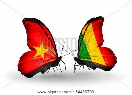 Two Butterflies With Flags On Wings As Symbol Of Relations Vietnam And Mali