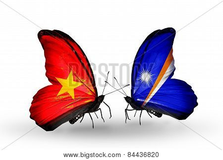 Two Butterflies With Flags On Wings As Symbol Of Relations Vietnam And Marshall Islands