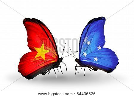 Two Butterflies With Flags On Wings As Symbol Of Relations Vietnam And Micronesia