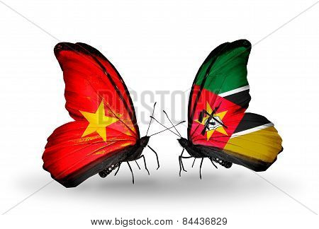 Two Butterflies With Flags On Wings As Symbol Of Relations Vietnam And Mozambique