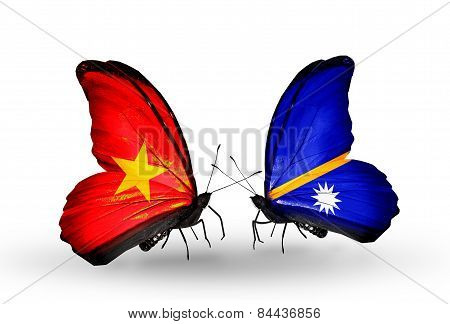 Two Butterflies With Flags On Wings As Symbol Of Relations Vietnam And Nauru