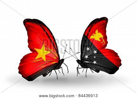 Two Butterflies With Flags On Wings As Symbol Of Relations Vietnam And Papua New Guinea