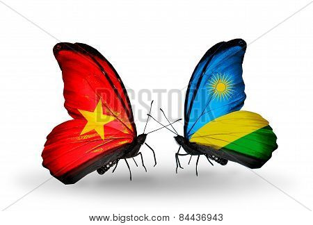 Two Butterflies With Flags On Wings As Symbol Of Relations Vietnam And Rwanda