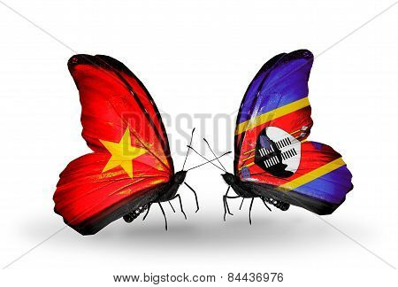 Two Butterflies With Flags On Wings As Symbol Of Relations Vietnam And Swaziland