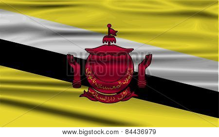 Flag Of Brunei With Old Texture. Vector