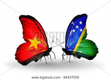 Two Butterflies With Flags On Wings As Symbol Of Relations Vietnam And Solomon Islands
