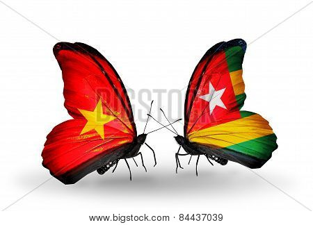 Two Butterflies With Flags On Wings As Symbol Of Relations Vietnam And Togo