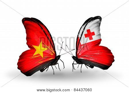 Two Butterflies With Flags On Wings As Symbol Of Relations Vietnam And Tonga