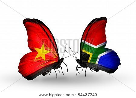 Two Butterflies With Flags On Wings As Symbol Of Relations Vietnam And South Africa