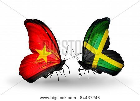 Two Butterflies With Flags On Wings As Symbol Of Relations Vietnam And Jamaica