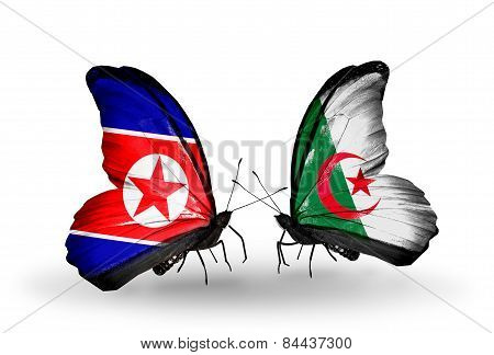 Two Butterflies With Flags On Wings As Symbol Of Relations North Korea And Algeria
