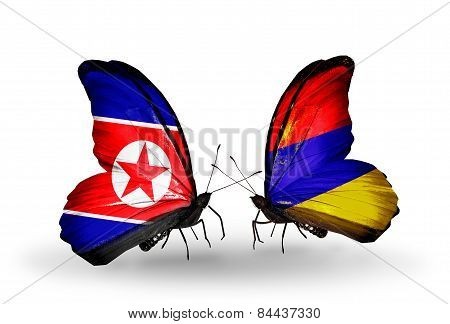 Two Butterflies With Flags On Wings As Symbol Of Relations North Korea And Armenia
