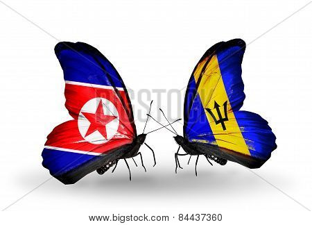 Two Butterflies With Flags On Wings As Symbol Of Relations North Korea And Barbados