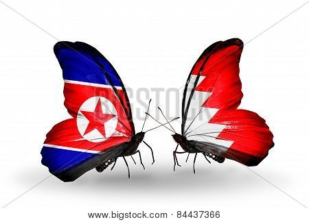 Two Butterflies With Flags On Wings As Symbol Of Relations North Korea And Bahrain