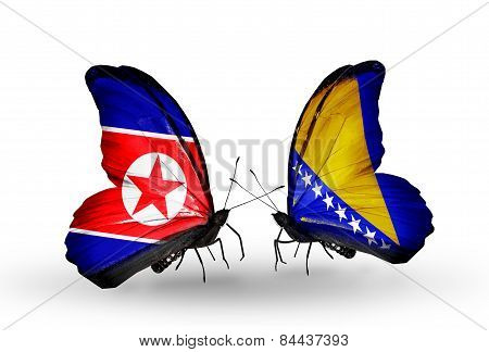 Two Butterflies With Flags On Wings As Symbol Of Relations North Korea And Bosnia And Herzegovina