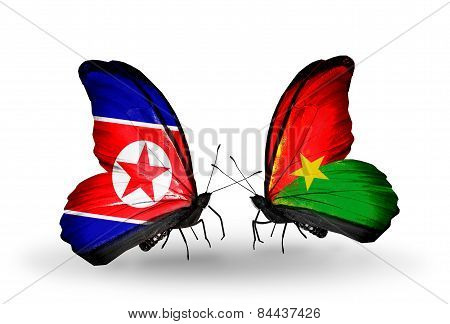 Two Butterflies With Flags On Wings As Symbol Of Relations North Korea And Burkina Faso