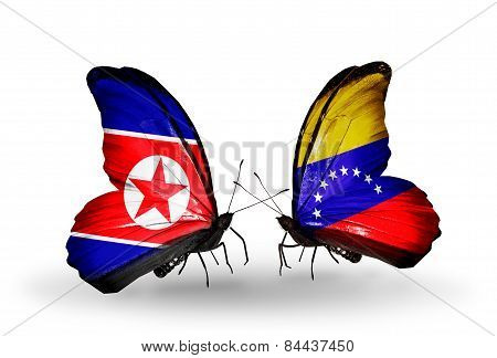 Two Butterflies With Flags On Wings As Symbol Of Relations North Korea And Venezuela