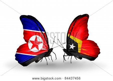 Two Butterflies With Flags On Wings As Symbol Of Relations North Korea And East Timor