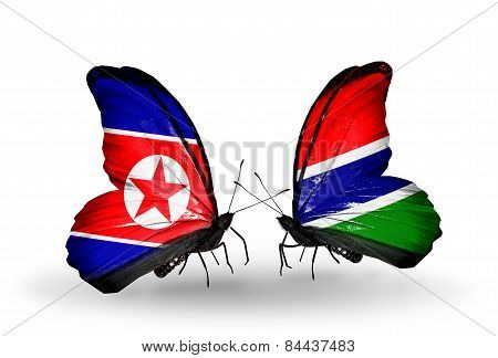 Two Butterflies With Flags On Wings As Symbol Of Relations North Korea And Gambia