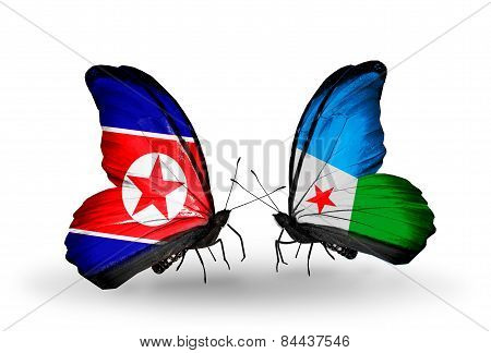 Two Butterflies With Flags On Wings As Symbol Of Relations North Korea And Djibouti
