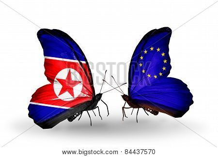 Two Butterflies With Flags On Wings As Symbol Of Relations North Korea And European Union