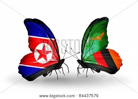 Two Butterflies With Flags On Wings As Symbol Of Relations North Korea And Zambia