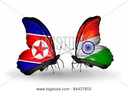 Two Butterflies With Flags On Wings As Symbol Of Relations North Korea And India
