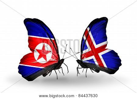 Two Butterflies With Flags On Wings As Symbol Of Relations North Korea And   Iceland